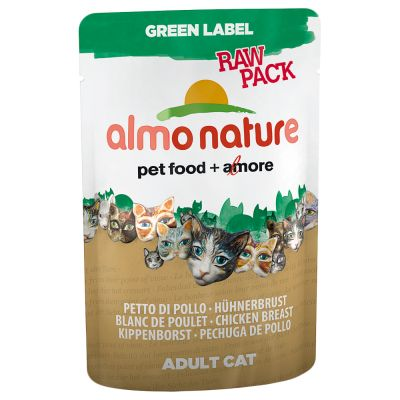 Almo Nature Green Label Raw in Pouches Kattenvoer 12 x 55 g Kippenborst en eendenfilet