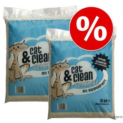 Cat & Clean -säästöpakkaus, 2 x 15 kg - Brilliant Plus, vauvantalkintuoksuinen