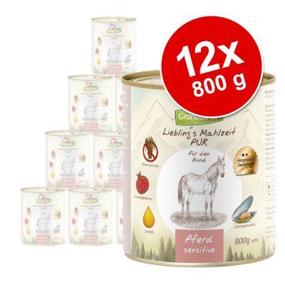 Ekonomipack: GranataPet Liebling's Mahlzeit Pur 12 x 800 g – Häst Sensitive