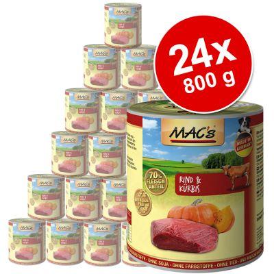 MAC's Adult -säästöpakkaus 24 x 800 g - nauta & kurpitsa
