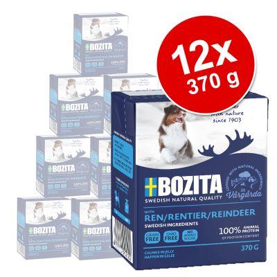 Bozita Chunks in Jelly 12 x 370 g - mix: lohi, hirvi, kana & riisi, poro