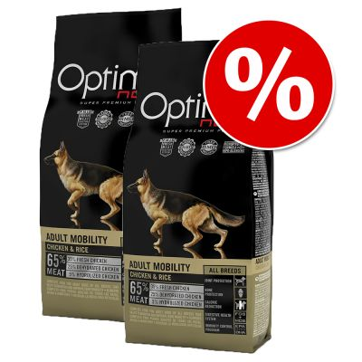 Dubbelpak Optimanova Hondenvoer Adult Mobiliteit Kip Rijst (2 x 12 kg)