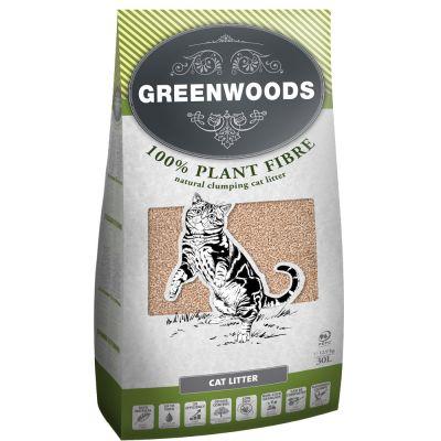 Greenwoods Plant Fibre: Växtbaserat klumpbildande strö – 30 l (ca. 12,9 kg)