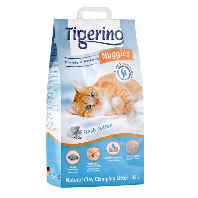 Tigerino Nuggies Ultra -kissanhiekka, puuvillankukantuoksuinen - 14 l