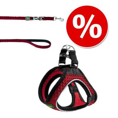 HUNTER Hilo: talutushihna & valjaat, punainen - rinnanympärys 33 - 36 cm + talutushihna 200 cm / 15 mm