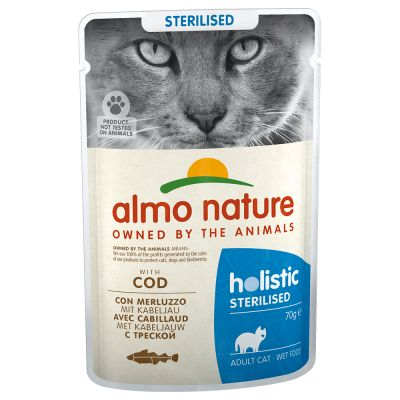 Almo Nature Holistic Sterilised 70 g - mix: 3 x kana ja 3 x turska