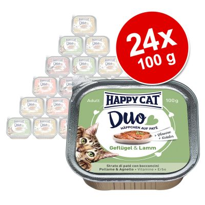 Happy Cat Duo Paté -rasiat 24 x 100 g - lajitelma, 5 makua