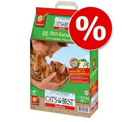 Säästöpakkaus! 40 l + 20 l Cat's Best Öko Plus - 40 l + 20 l (noin 27 kg)