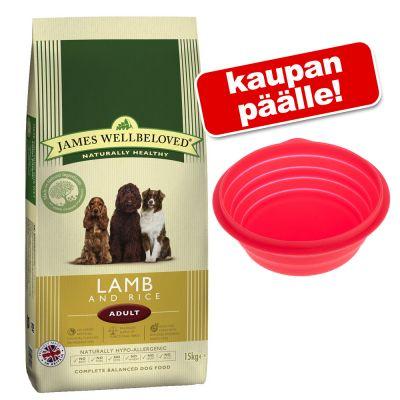 James Wellbeloved -koiranruoka + silikonimatkakuppi 1 l kaupan päälle! - Junior Large Breed Lamb & Rice (15 kg)