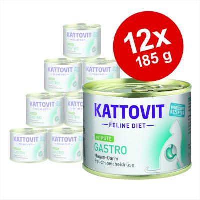 Kattovit Gastro 12 x 185 g en latas para gatos - Pack Ahorro - Pavo