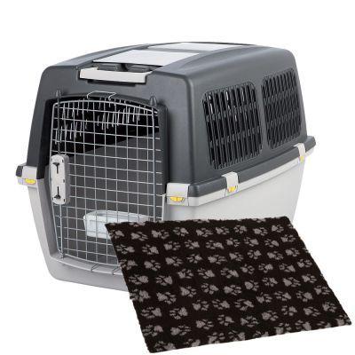 Trixie Gulliver -kuljetuslaatikko & Vetbed Isobed SL Paw -koiranpeitto - P 92,0 x L 64,0 x K 64,0 cm (6-koko)