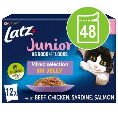 "Latz """"As good as it looks"""" Junior Pouches 48 x 85 g - Kyckling, Nötkött, Lax, Sardiner"