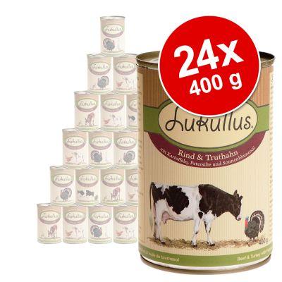 Ekonomipack: Blandade sorter Lukullus 24 x 400 g – Variant III