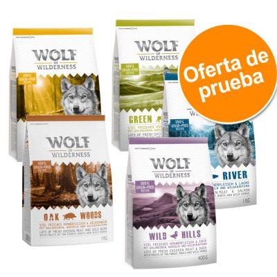 Wolf of Wilderness - Pack de Prueba - Classic 5 x 1 kg: cordero, pato, venado, jabalí y salmón