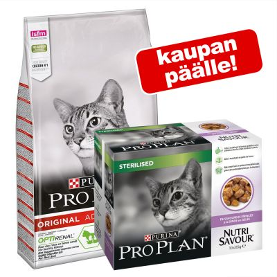 10 kg PRO PLAN kissanruoka + 10 x 85 g Nutrisavour Sterilised kaupan päälle! - Light Adult Rich in Turkey