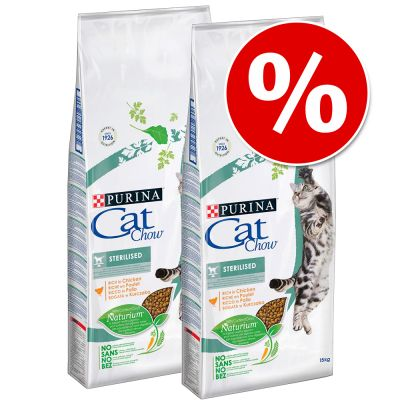Cat Chow 2 x 15 kg pienso para gatos ¡a precio especial! - Adult Special Care Hairball Control rico en pollo
