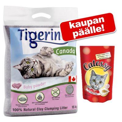 Tigerino Canada kissanhiekka 12 kg + Catessy Snacks 65 g kaupan päälle! - Almond Milk & Honey