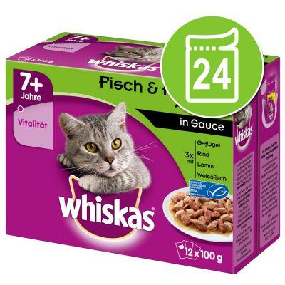 Whiskas 7+ Senior Pouches 24 x 100 g - 7+ siipikarjavalikoima hyytelössä