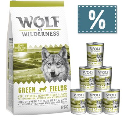Wolf of Wilderness 12 kg Trockenfutter + 6 x 400 g / 6 x 800 g Nassfutter