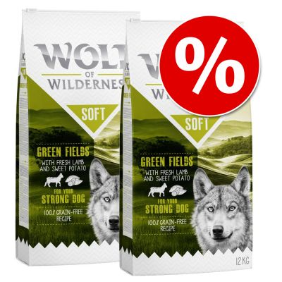 Wolf of Wilderness Soft - säästöpakkaus 2 x 12 kg - Senior Wide Acres - Chicken