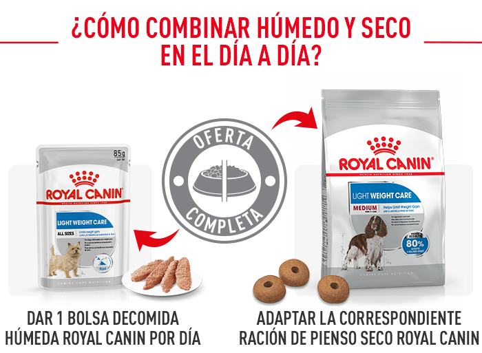 cómo combinar royal canin light weight care