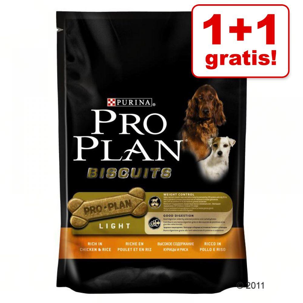 1 + 1 på köpet! 2 x Pro Plan hundgodis 2 x 400 g Biscuits Light