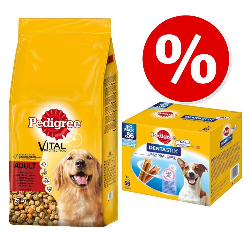 13 / 15 kg Pedigree Trockenfutter + Dentastix zum Sonderpreis! - Adult Geflügel + Multipack (56 Stück) für mittelgroße Hunde (10-25 kg)