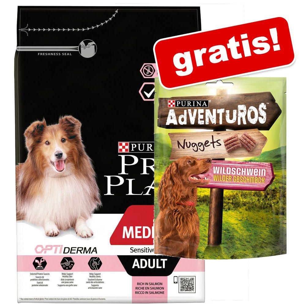 7 kg PURINA PRO PLAN + AdVENTuROS Nuggets Hundesnacks gratis! - Medium Adult Sensitive Skin OPTIDERMA