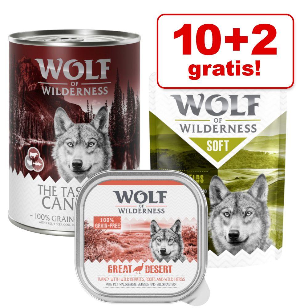 10 + 2 på köpet! 12 x 300 g/ 400 g Wolf of Wilderness våtfoder Strong Lands - Pork (400 g burkar)