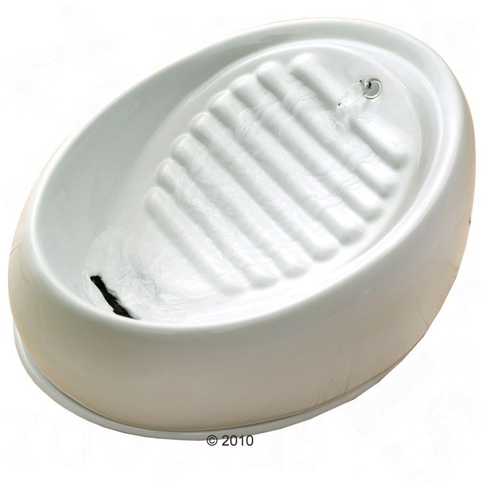 Keramik Trinkbrunnen, 1,5 Liter - Komplettset: Brunnen (weiß), Filter, Ersatzpumpe, Schlauchset
