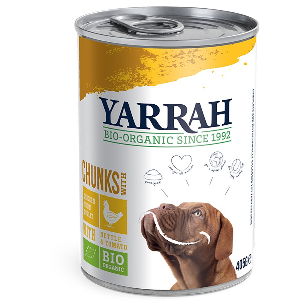 Chicken Chunks with Nettle & Tomato in Sauce Yarrah Organic Wet Dog Food