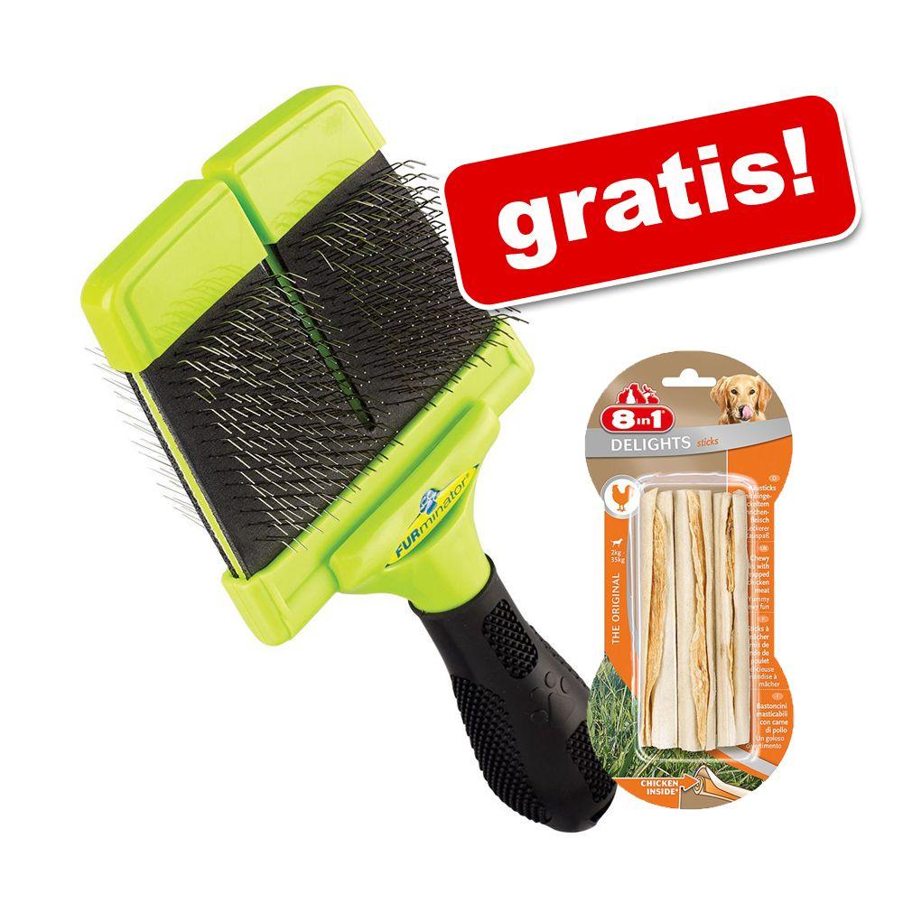 FURminator pälsvårdsverktyg + 8in1 Delights tuggpinnar på köpet! - FURminator massageborste