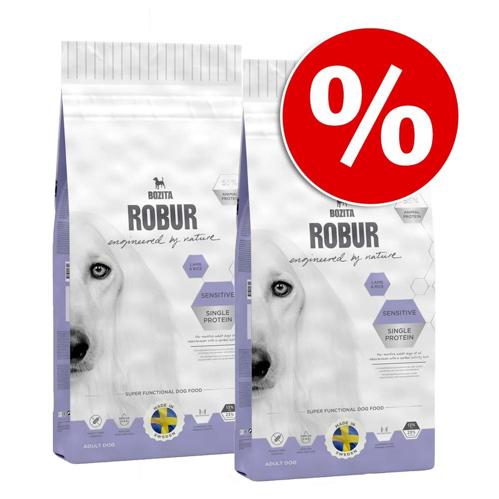 Dwupak Bozita Robur - Sensitive Single Protein, jagnięcina i ryż 2 x 15 kg