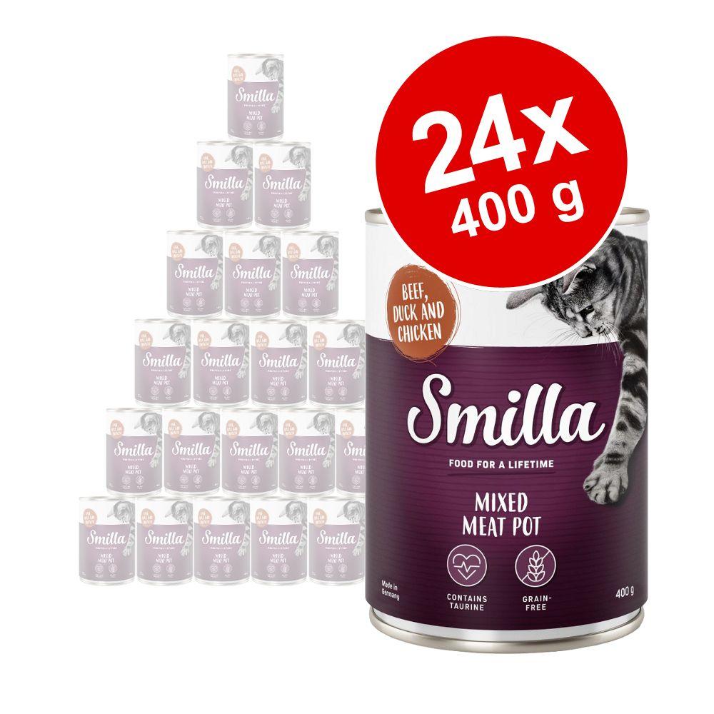 Ekonomipack: Smilla Mixed Meat Pot 24 x 400 g - Höns, nötkött & vilt