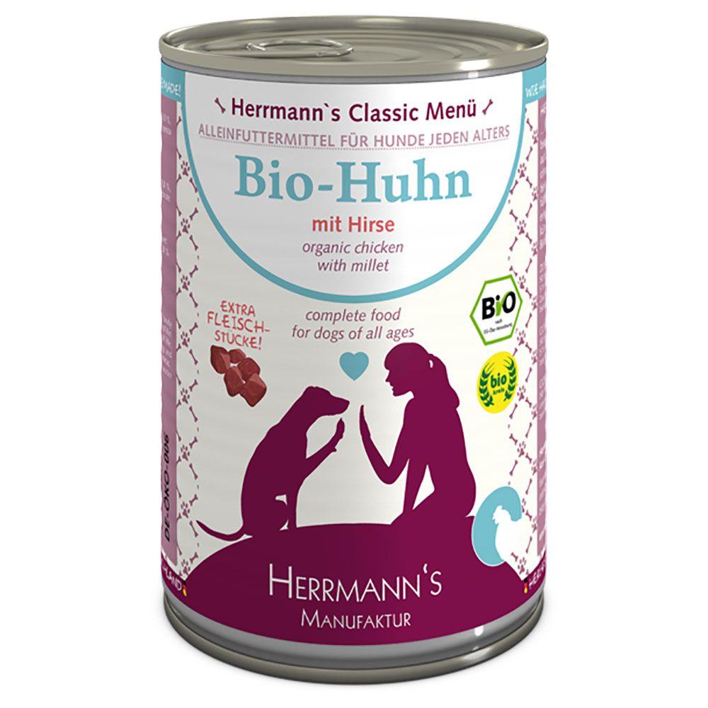 12x400g Organic Chicken Gluten-Free Herrmann's Menu Wet Dog Food