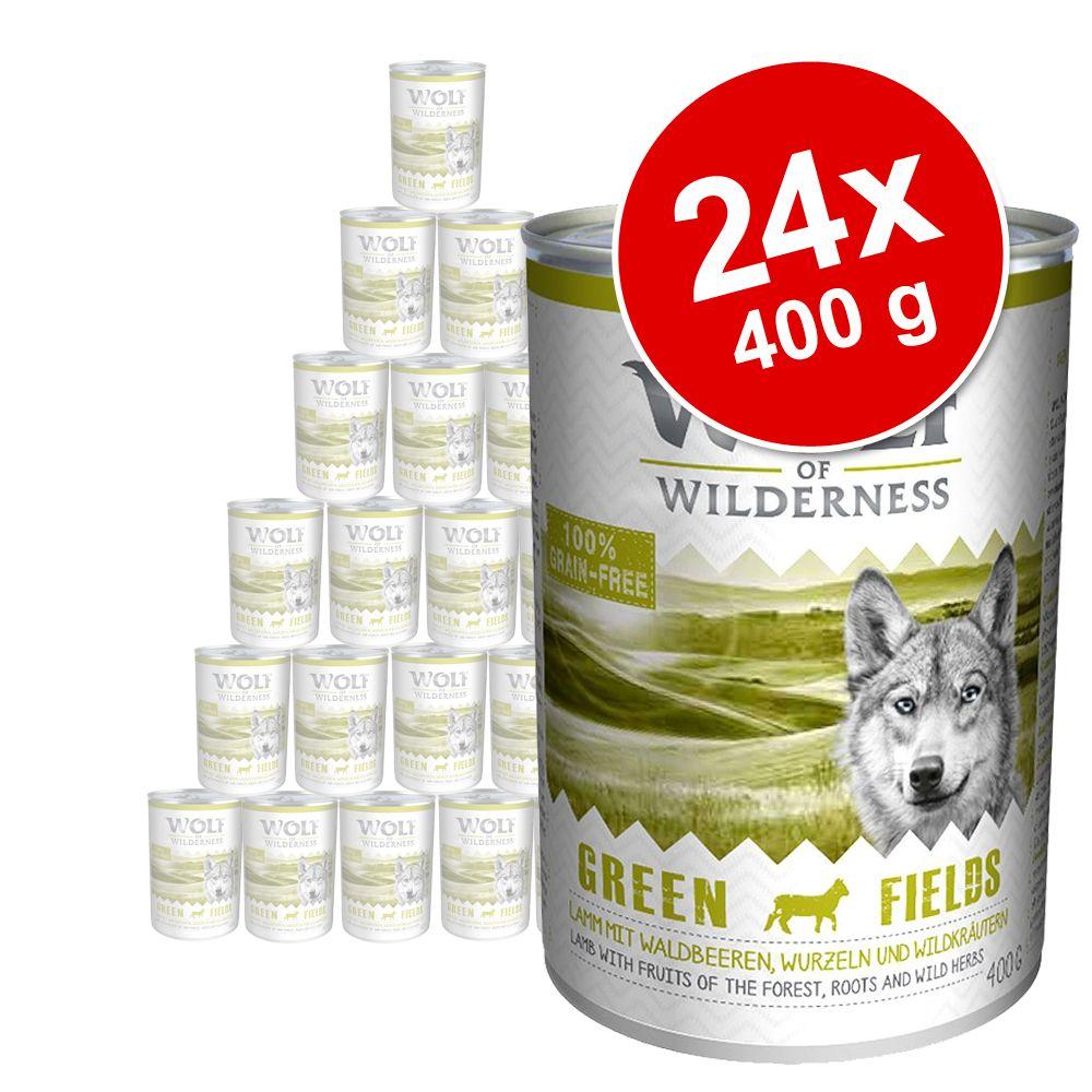 Wolf of Wilderness 24 x 400 g - Pack económico - Pack misto: cordeiro, pato, javali e rena