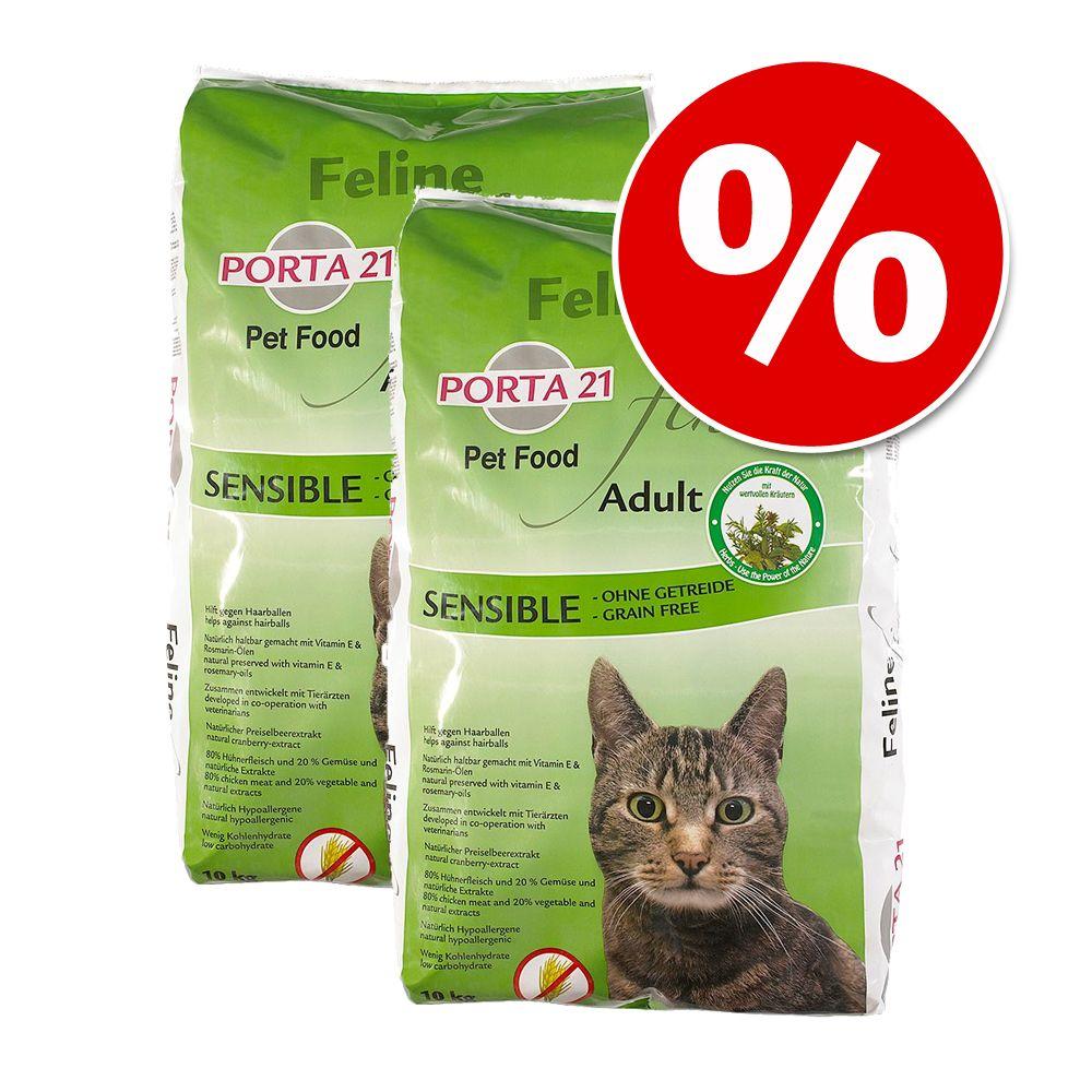 Ekonomipack: 2 x 10 kg Porta 21 torrfoder för katter - Feline Finest Sensible - spannmålsfritt