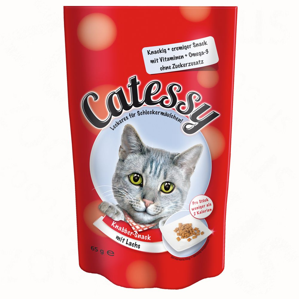 Catessy Crunchy Snacks – Saver Pack 3 x 65g - with Salmon