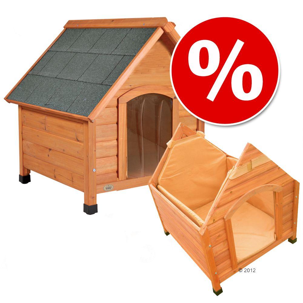 Sparset Hundehütte Spike Komfort mit Isolierung und Tür - Set Größe M: B 78 x T 88 x H 81 cm