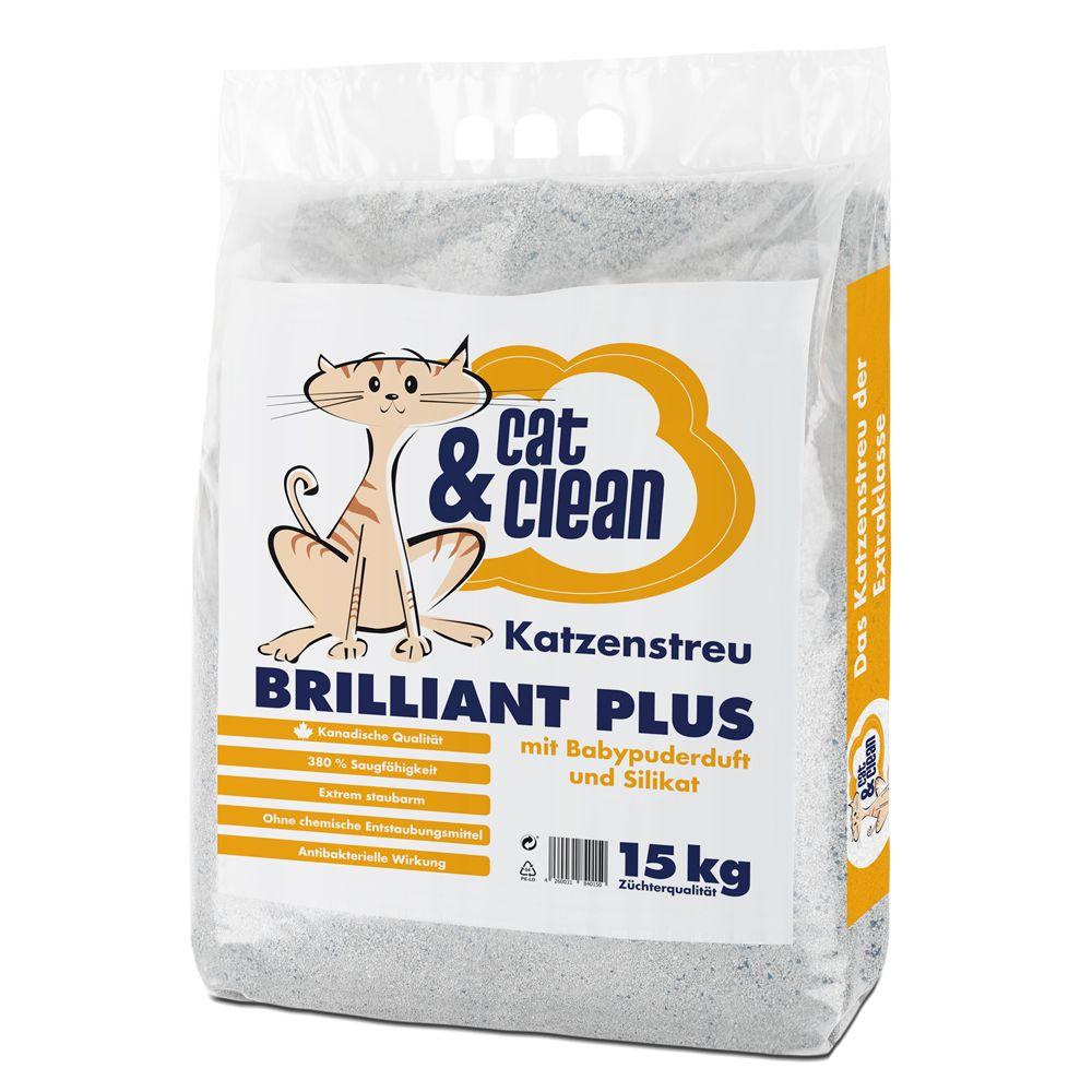 Cat & Clean Brilliant Plus kattsand med silikat och babypuder-doft – Passande skopa