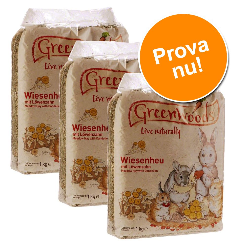 Blandat provpack: Greenwoods ängshö – Blandpack: 3 x 1 kg