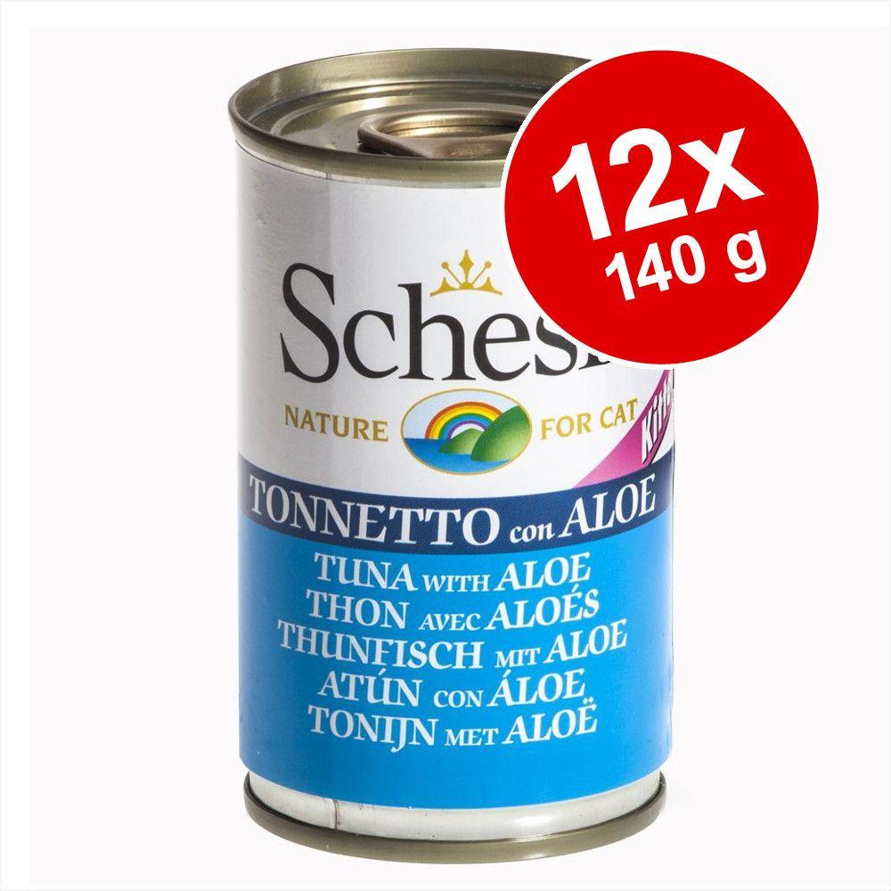 Ekonomipack: Schesir 12 x 140 g - Kitten: Tonfisk & aloe i gelé