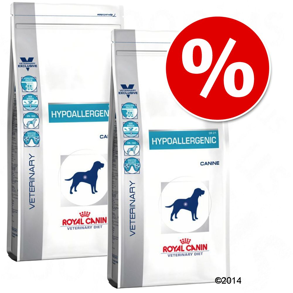 Varčno pakiranje Royal Canin Veterinary Diet - Hypoallergenic Moderate Calorie, 2 x 14 kg