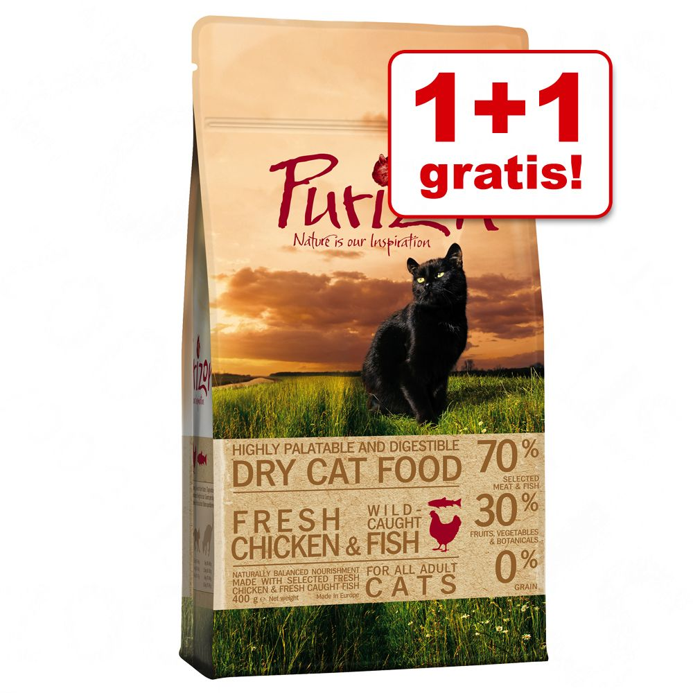 1 + 1 köpet! 2 x 400 g Purizon torrfoder för katt Adult Duck & Fish