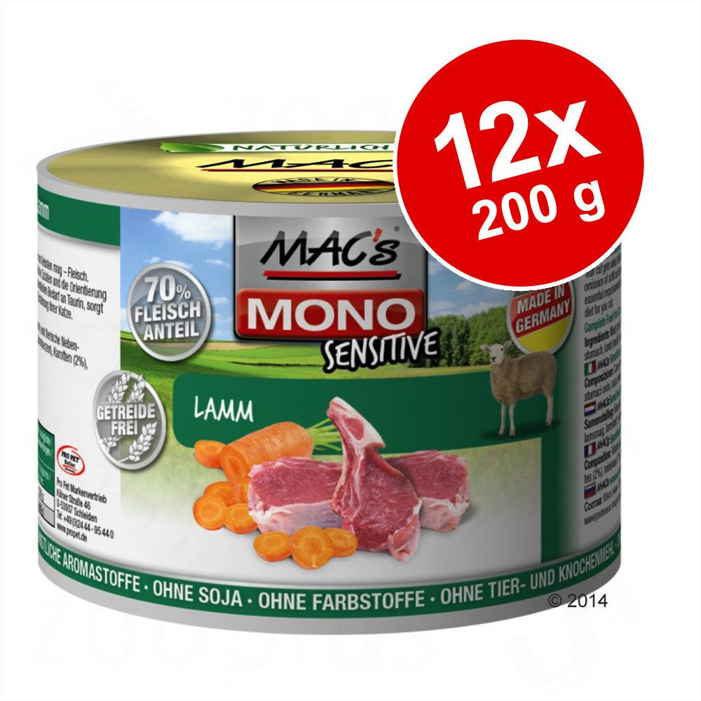 Ekonomipack: MAC's Cat Sensitive 12 x 200 g - Blandpack: Lamm + Kalkon