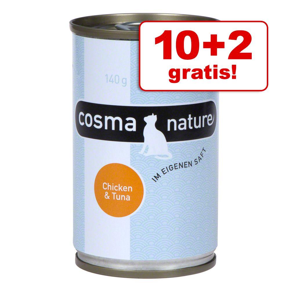 10 + 2 på köpet! 12 x 140 g Cosma Nature - Kycklingbröst & tonfisk