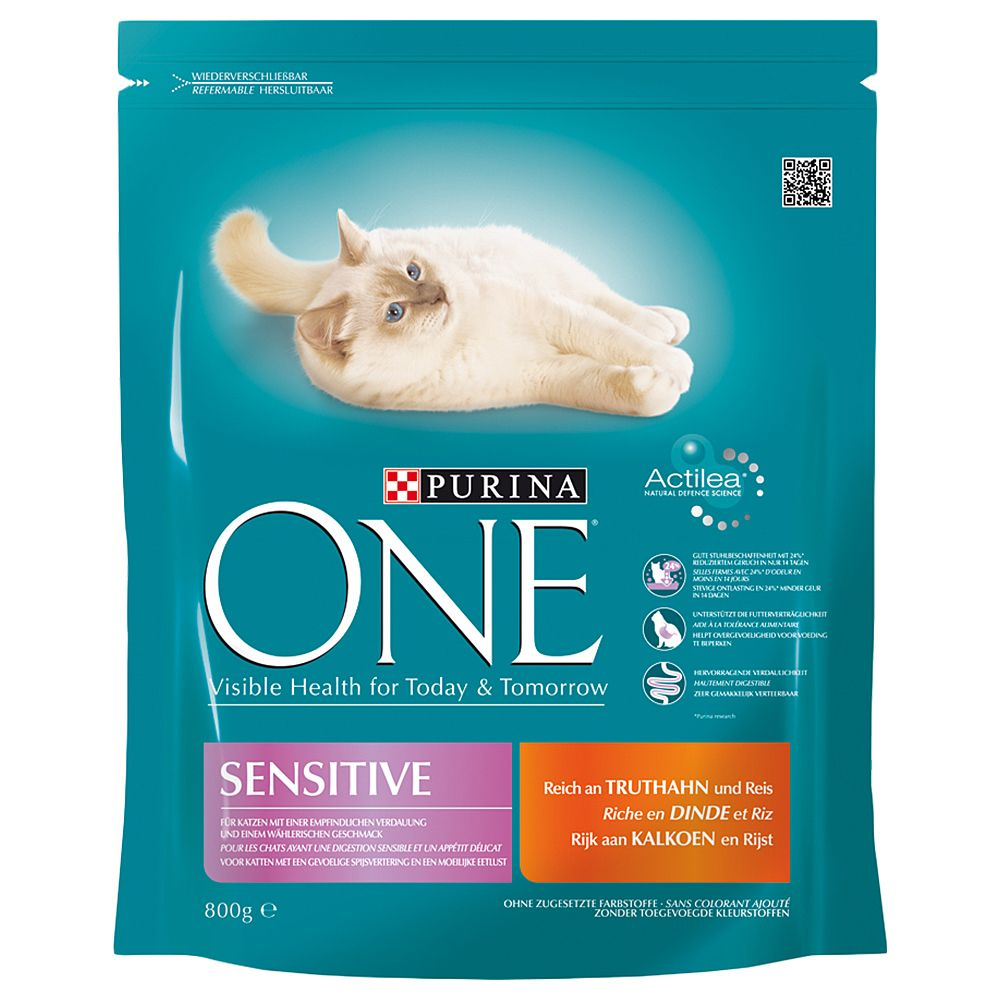Purina ONE Sensitive Turkey & Rice Dry Cat Food - 1.5kg