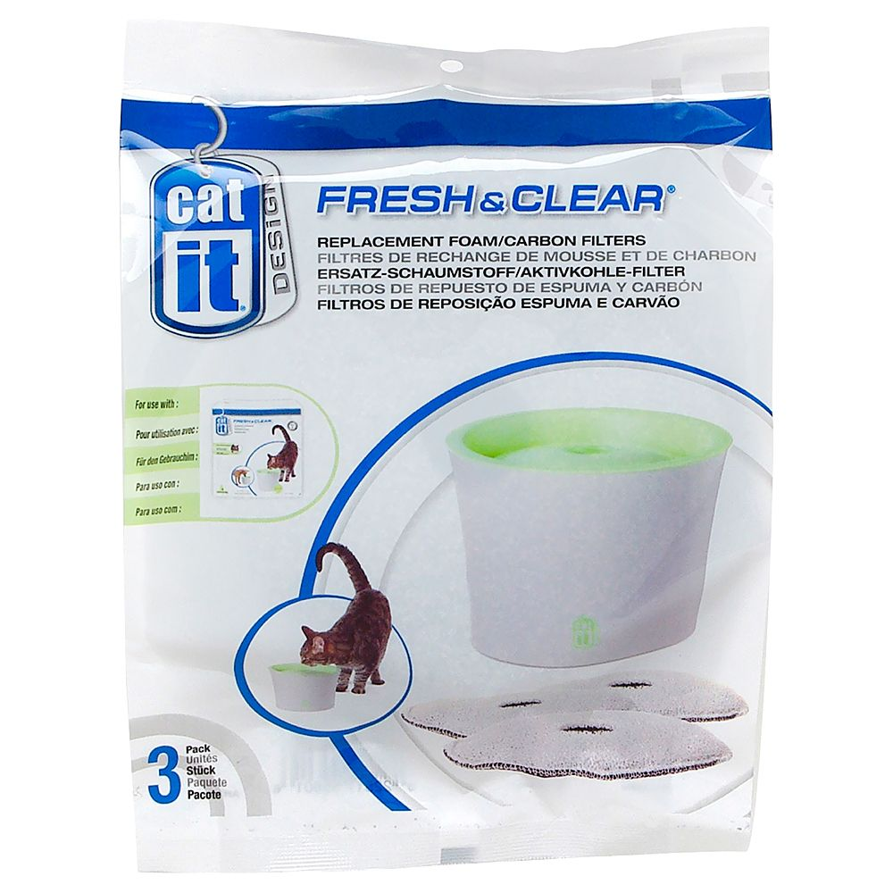 Catit Design Fresh & Clear Drinking Fountain - Replacement foam/Carbon filters (3-Pack)