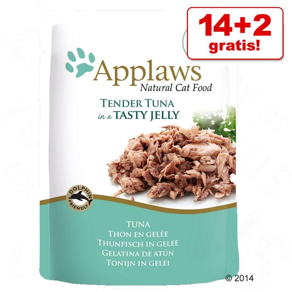 14 + 2 på köpet! 16 x 70 g Applaws Pouch in Jelly kattmat - Tonfisk