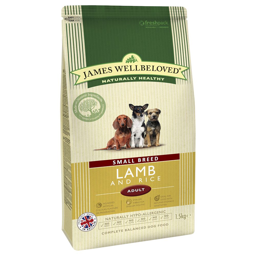 James Wellbeloved Adult Small Breed - Lamb & Rice - Economy Pack: 3 x 1.5kg
